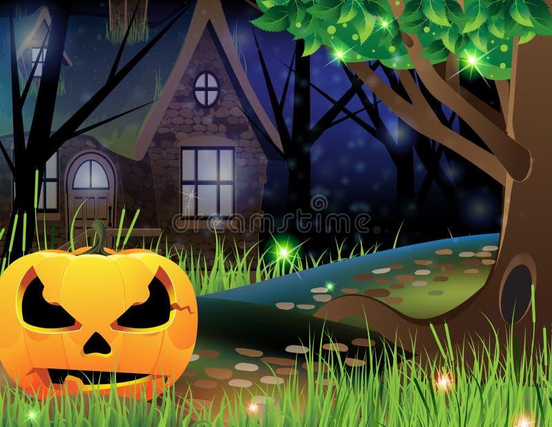Laterne Jack-O und verlassenes Haus lizenzfreie abbildung