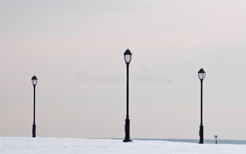 Laternen auf einem Michigan See in Chicago stockfoto