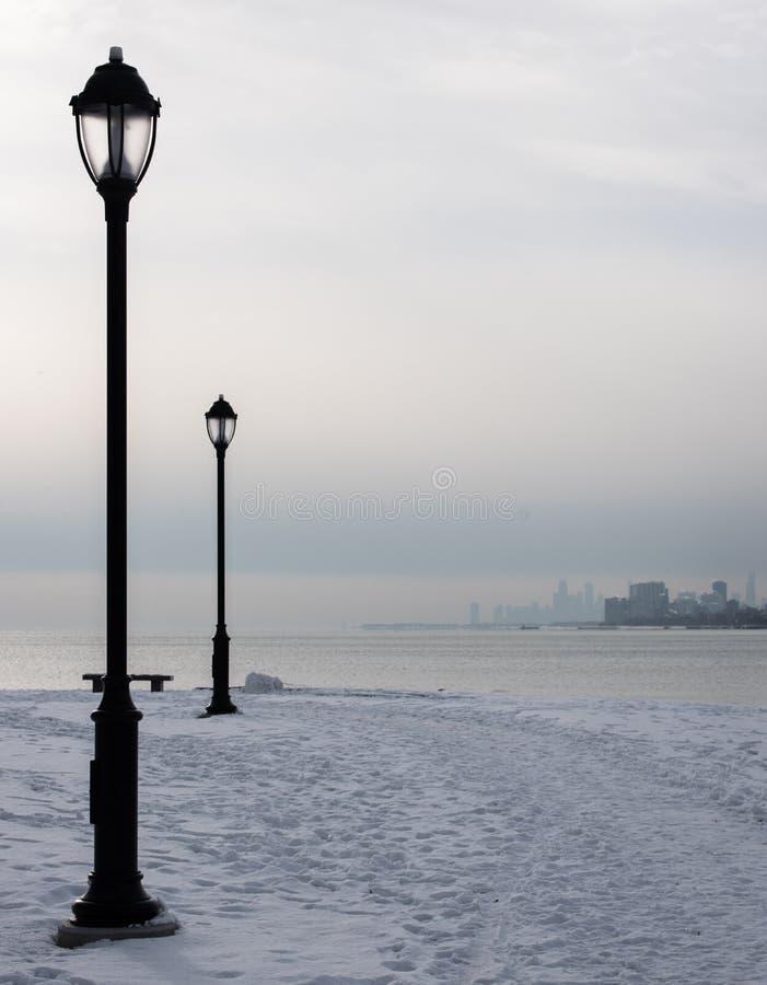 Laternen auf einem Michigan See in Chicago lizenzfreie stockfotos