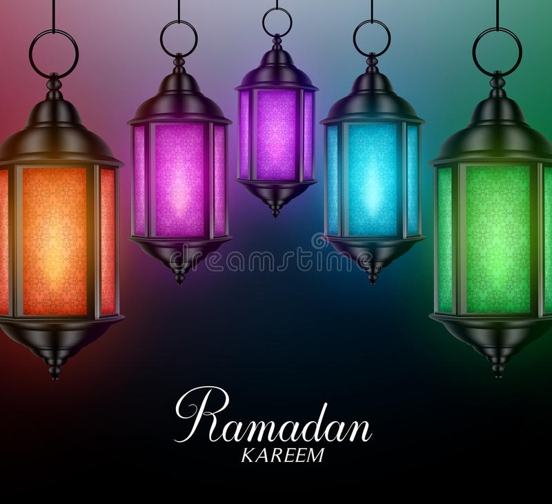 Laternen-Hintergrund in den bunten glühenden Lichtern mit Ramadan Kareem lizenzfreie abbildung