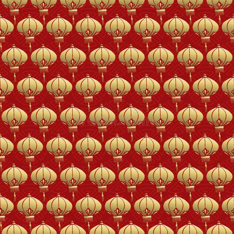 Laternen-Lampengold des chinesischen nahtlosen Musters rotes stock abbildung