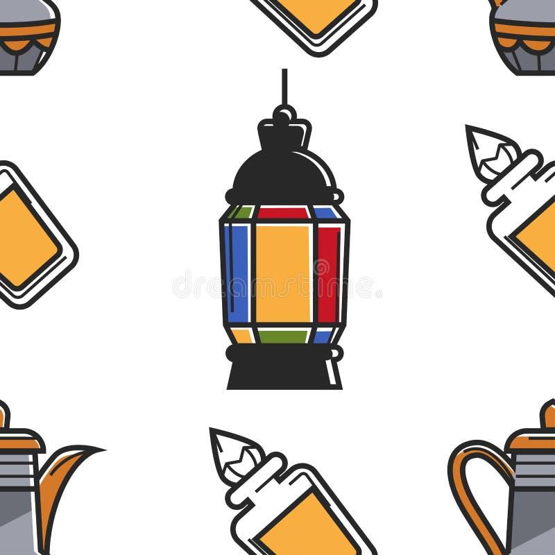 Laternenparfüme und nahtloses Muster der saudi-arabischen Symbole der Teekanne stock abbildung