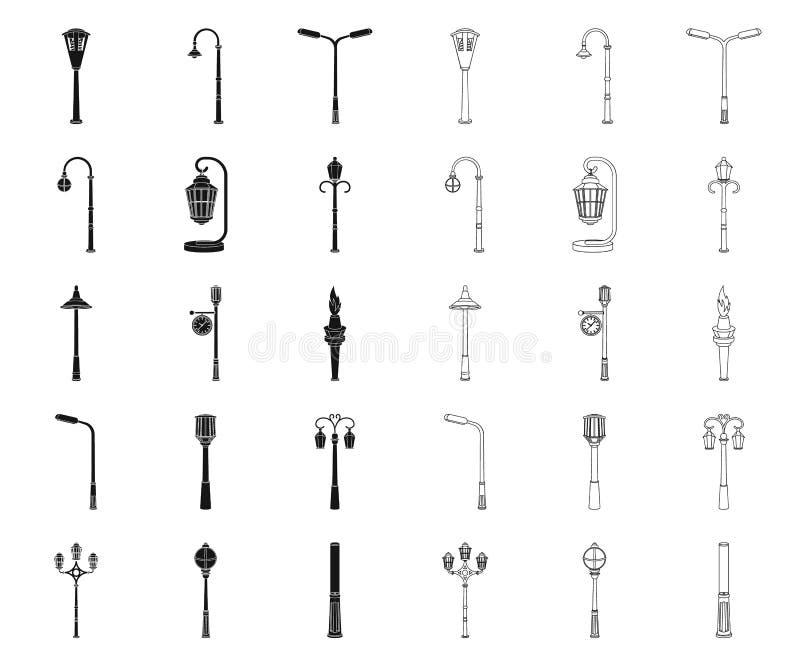Laternenpfahlschwarzes, Entwurfsikonen in gesetzter Sammlung für Entwurf Laterne und Beleuchtung vector Netzillustration des Symb lizenzfreie abbildung
