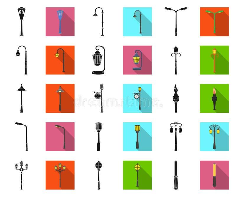 Laternenpfahlschwarzes, flache Ikonen in gesetzter Sammlung für Entwurf Laterne und Beleuchtung vector Netzillustration des Symbo lizenzfreie abbildung