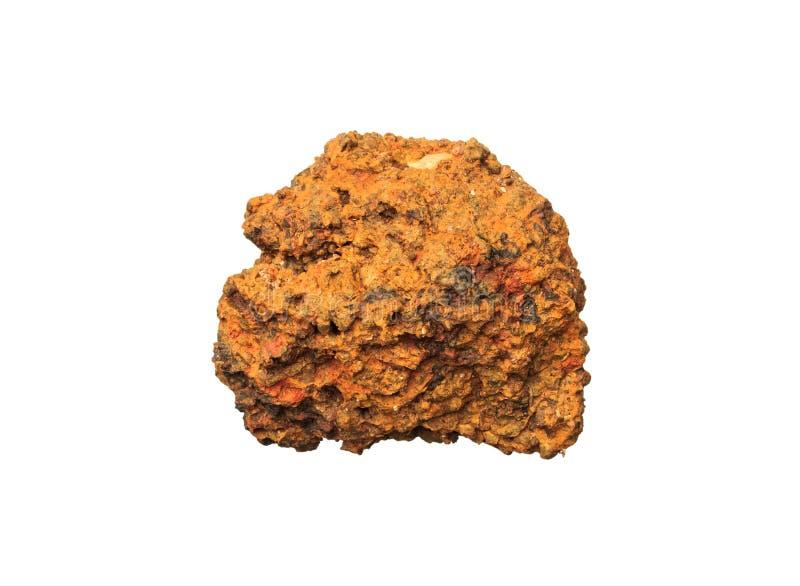 Lateryt kopaliny kamienia Rudna skała na bielu zdjęcia stock