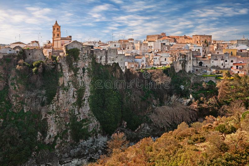 Laterza, Taranto, Puglia, Italy: landscape of the town over the canyon in the nature park Terra delle Gravine stock photography