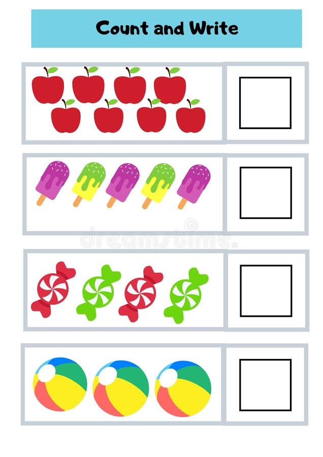 Latest Count And Write Colourful Worksheet For Kindergarten Stock Photo -  Image Of Worksheet, Kindergarten: 191149620