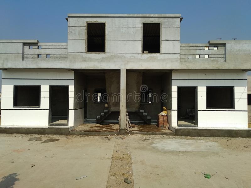 Latest Elevation of Row- House in India. This photograph is helping you to take decision even if your Row-house size may different stock photo