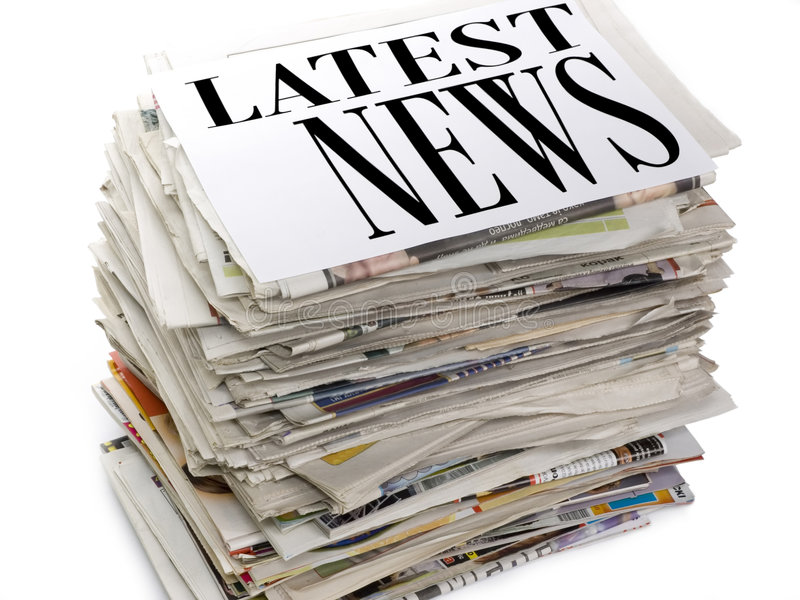 Latest News. Stack of newspapers. Top file showing latest news royalty free stock photo