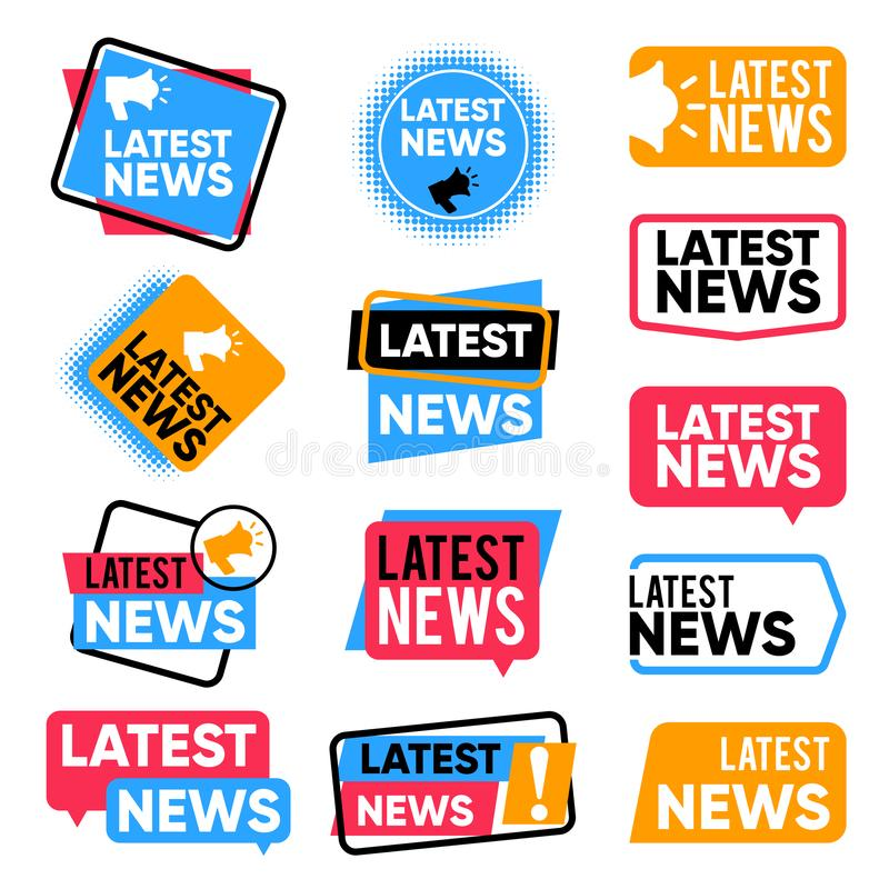 Latest news labels. Information banners with promotional words. Newsletter announcement vector badges royalty free illustration
