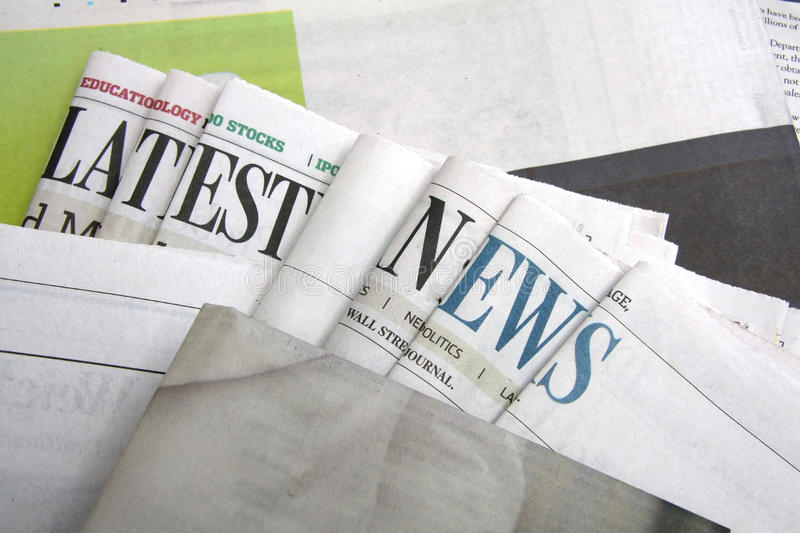 Latest news on newspapers. Latest news letters on newspapers stock photo