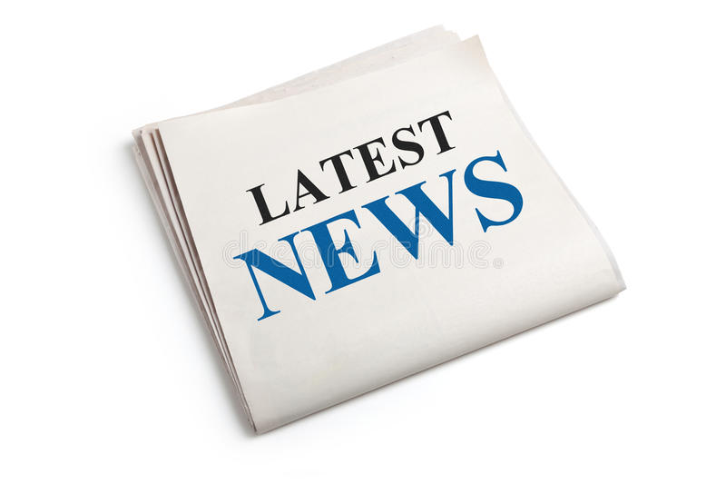 Latest News. Newspaper with white background royalty free stock photo