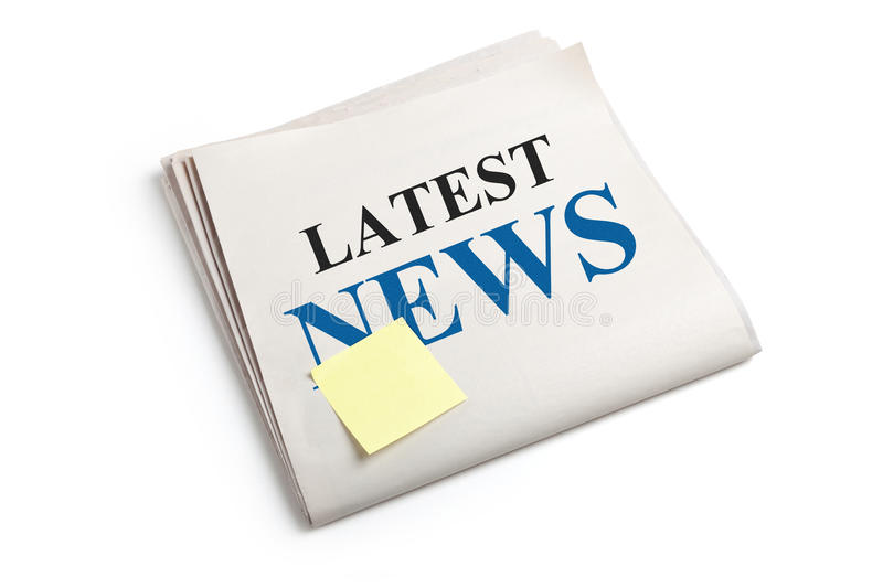 Latest News. Newspaper with white background stock photography