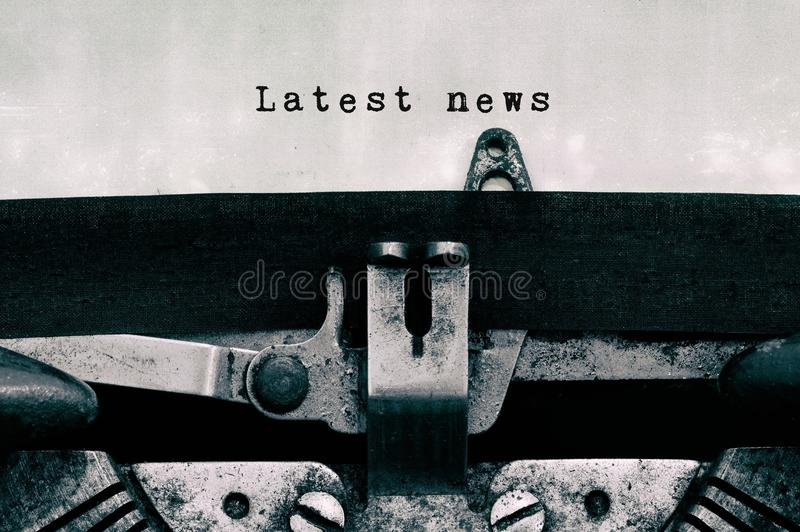 Latest news words typed on a vintage typewriter stock photos