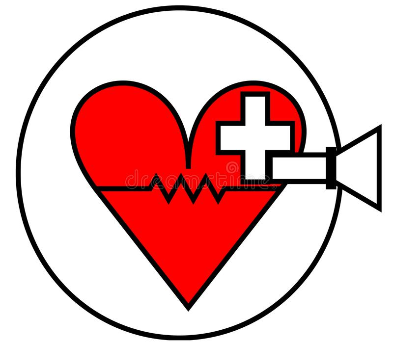 Latest style red heart health-care logo royalty free stock images