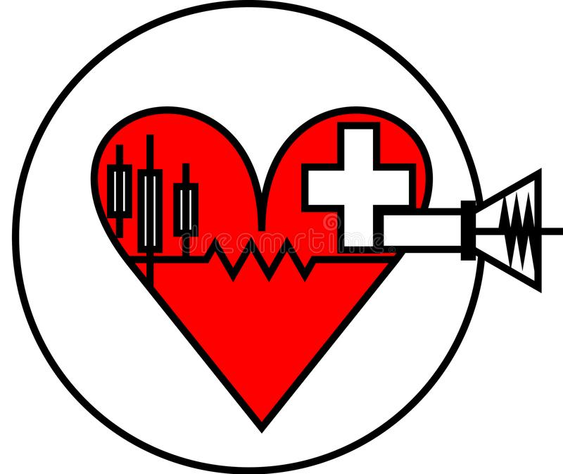latest stylist red heart health-care logo royalty free stock images