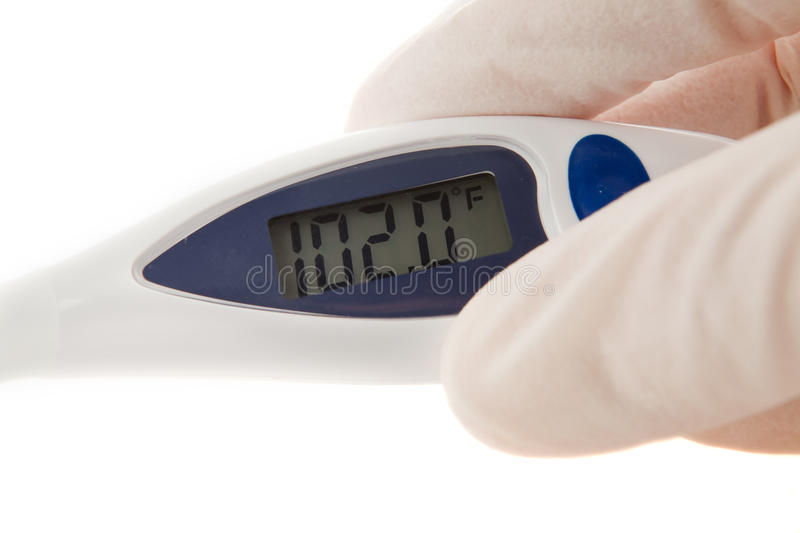 Download Latex Gloved Hand Holding An  Thermometer Royalty Free Stock Photo - Image: 12573125