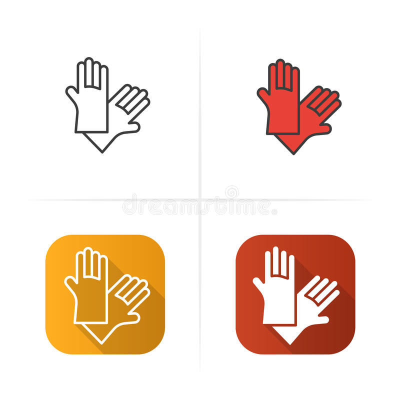 Latex Gloves Icon Flat Linear And Color Styles Stock Vector