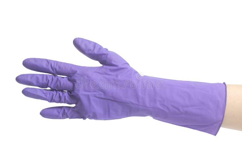 Latex-Handschuh für das Säubern auf weibliche Hand lizenzfreie stockfotografie