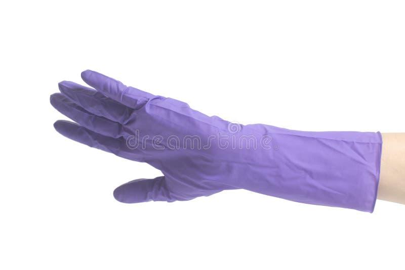 Latexhandske för att göra ren på den kvinnliga handen fotografering för bildbyråer