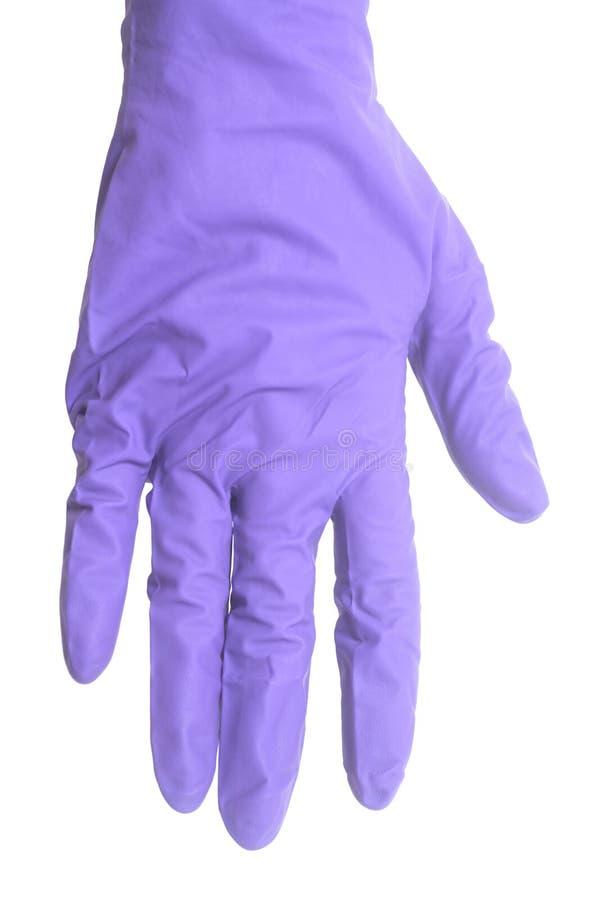 Latexhandske för att göra ren på den kvinnliga handen arkivbild