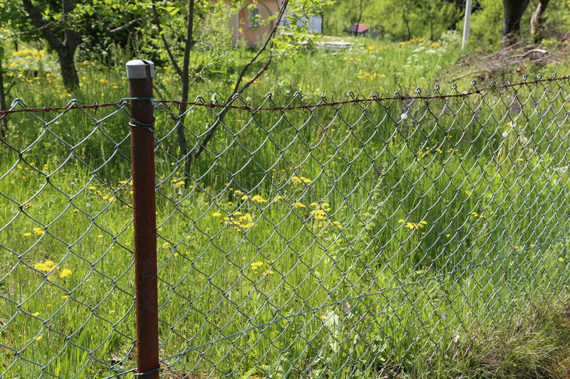 Lath fence. / Barbed wire fence on a green background stock photo