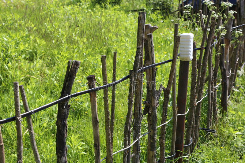 Lath fence. / Barbed wire fence on a green background royalty free stock images