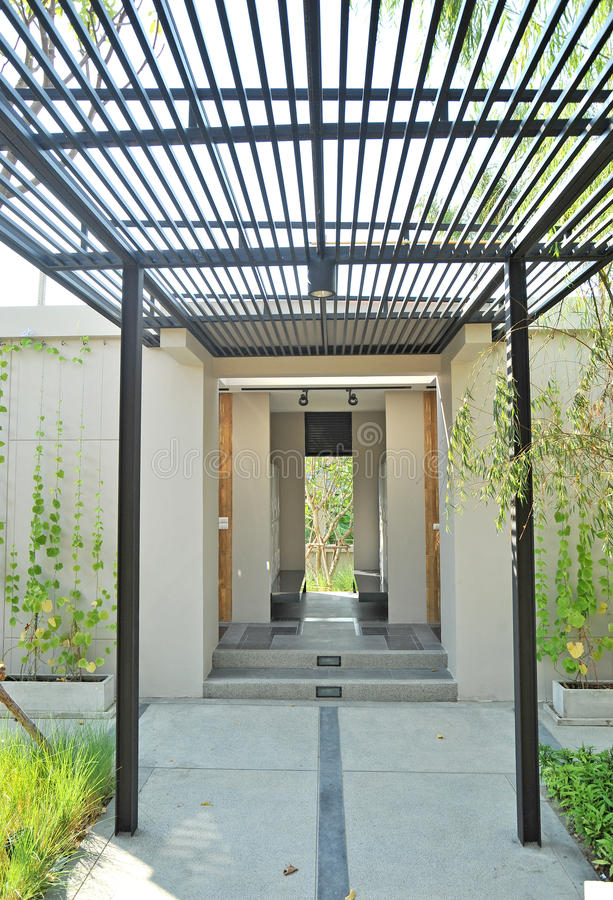 Lath walkway. In garden walkway royalty free stock photo