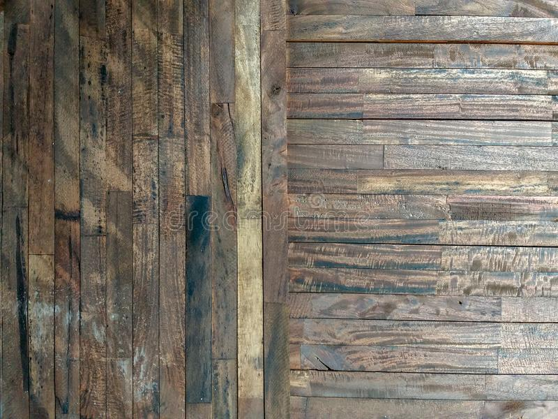 Lath wood texture Brown. Vertical on horizontal background stock image