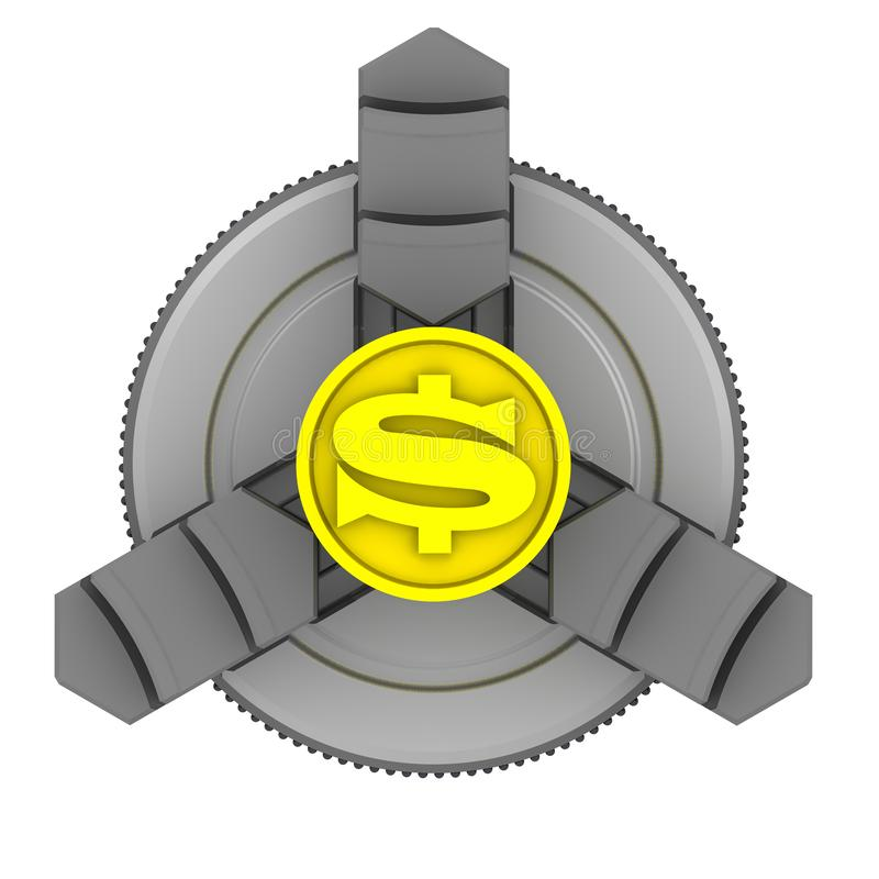 Lathe chuck and workpiece with the symbol of the American dollar royalty free illustration