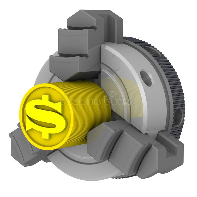 Lathe chuck and workpiece with the symbol of the American dollar. Gold billet with the symbol of the American dollar in the lathe chuck. Isolated. 3D vector illustration