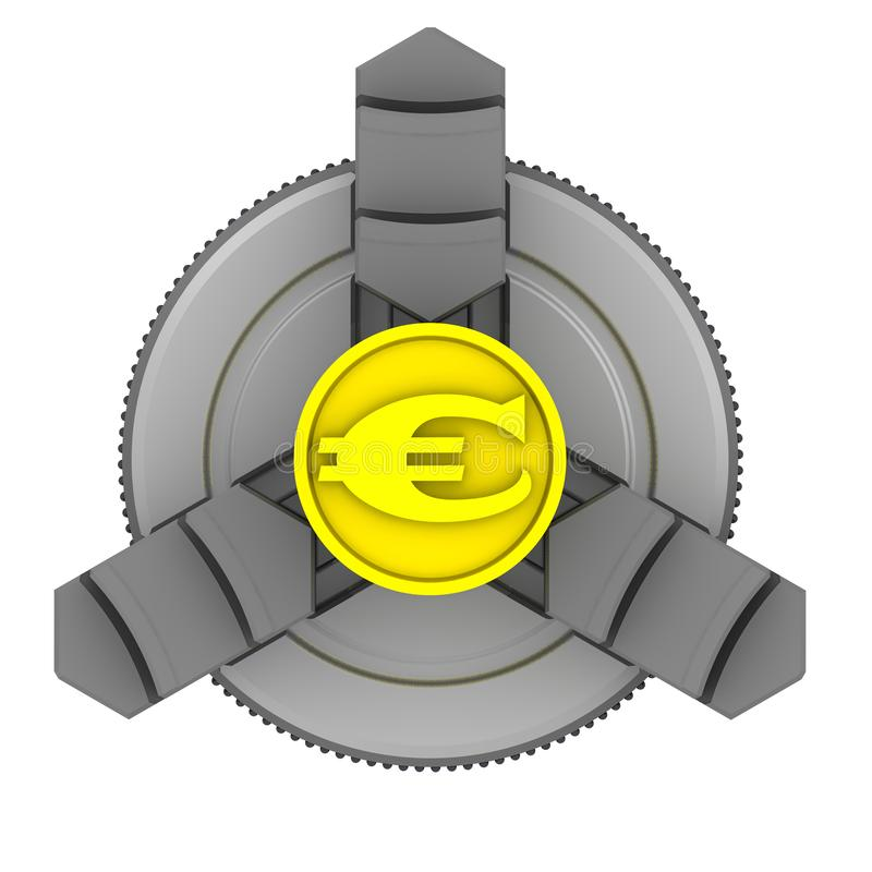 Lathe chuck and workpiece with the symbol of the European currency. Gold billet with the symbol of the European currency in the lathe chuck. Isolated. 3D royalty free illustration