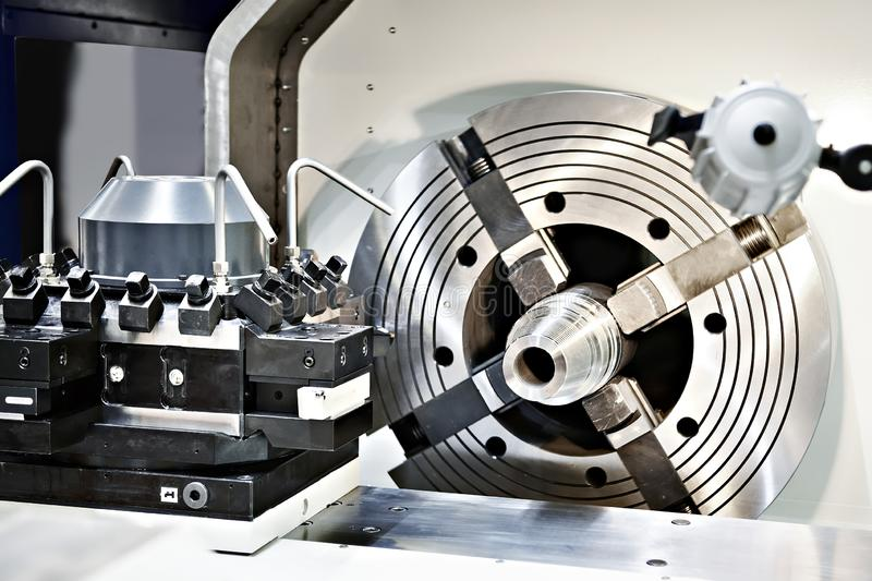 Lathe clamping spindle. Metal work royalty free stock photo
