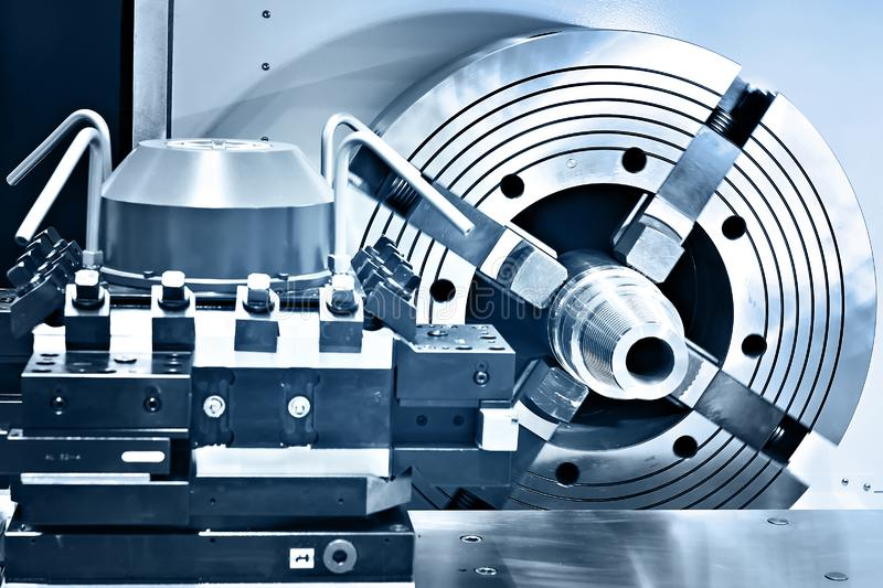 Lathe clamping spindle. Metal work stock image