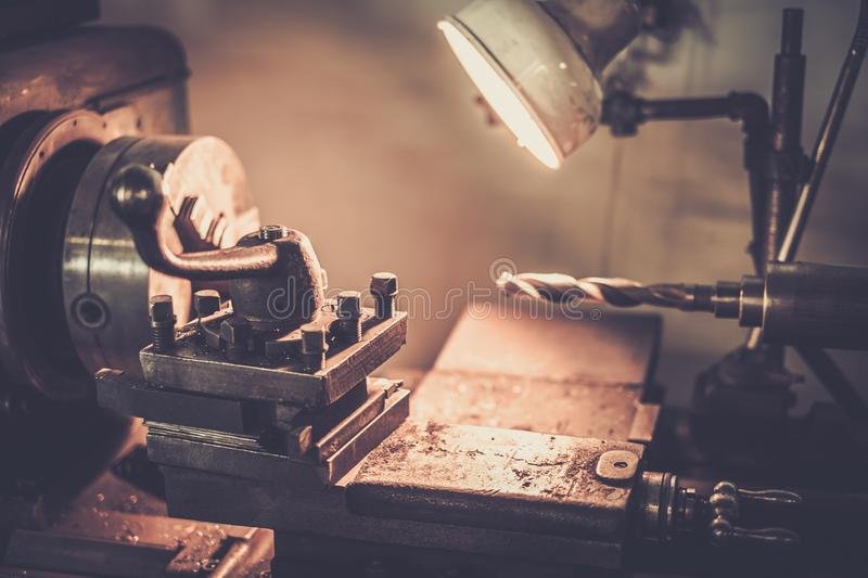 Lathe machine. In a workshop royalty free stock photo