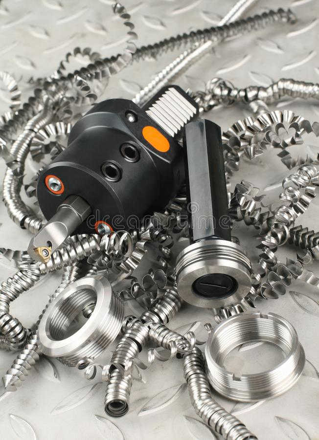 Lathe tool and gauge royalty free stock image