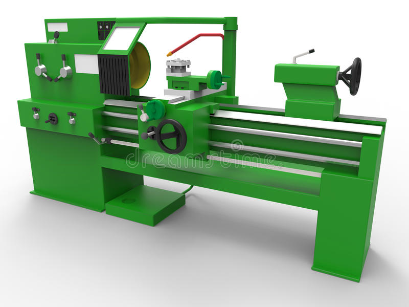 Lathe turning machine. 3D rendered illustration of a lathe turning machine. The composition is isolated on a white background with shadows and the machine is stock illustration