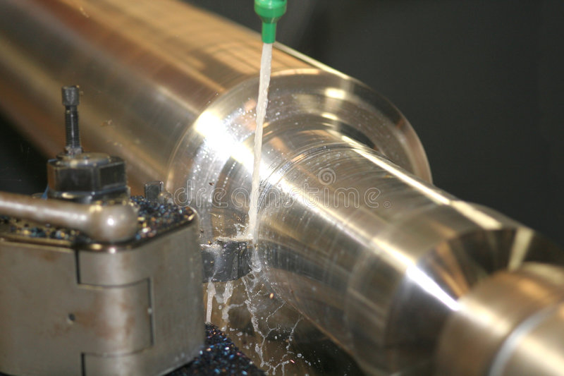 Lathe Turning Stainless Steel. Turning stock image