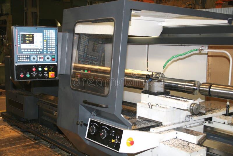 Lathe Turning Stainless Steel. Turning stock photo