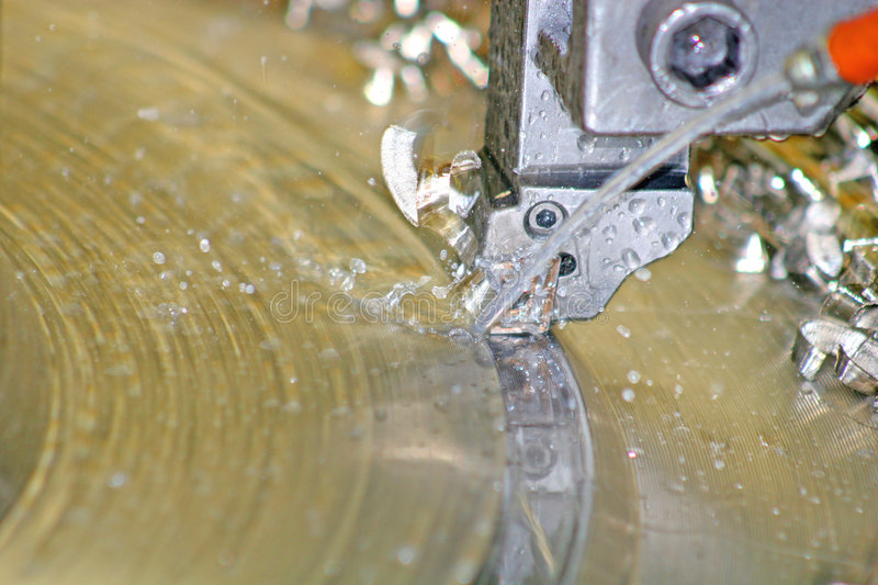 Lathe Turning Stainless Steel royalty free stock photography