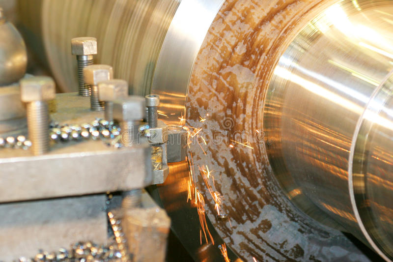 Lathe Turning Stainless Steel. Drill stock photo