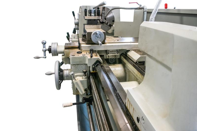 Lathe in workshop, The machine is old but working. Backgrounds royalty free stock images