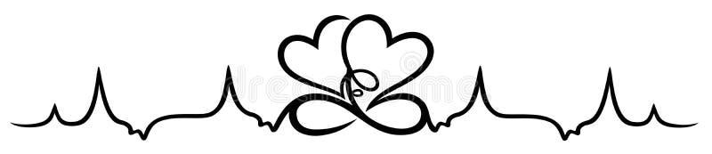 Latido del corazón, dos corazones con infinito ilustración del vector