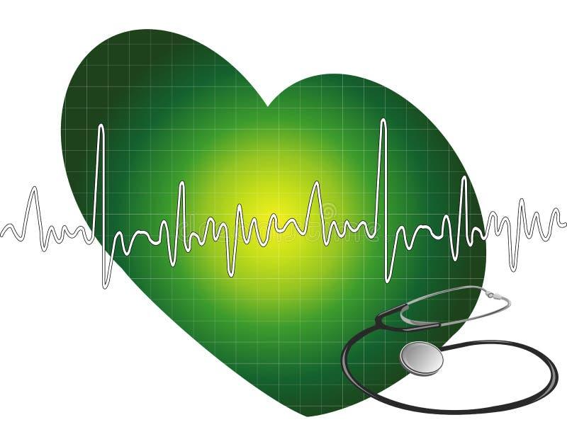 Latido del corazón - ecg stock de ilustración