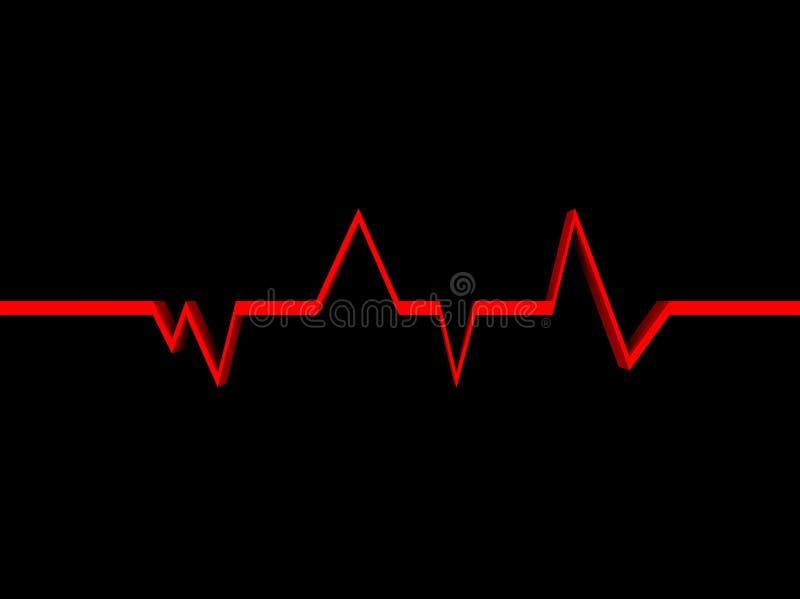 Latido del corazón en un fondo negro stock de ilustración