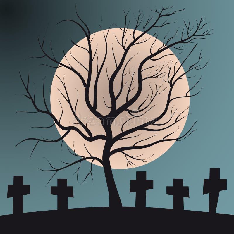 Latifoglia sul cimitero con la luna piena delle tombe illustrazione vettoriale