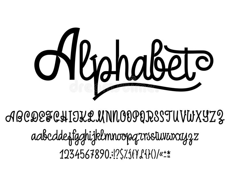 Latijns alfabet Doopvonthandschrift met hoofdletters en kleine letters, aantallen en symbolen Modern manuscript van monolines stock illustratie