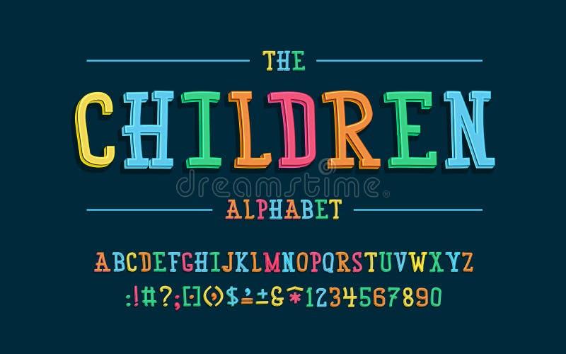 Latijns alfabet Kinderendoopvont in leuke beeldverhaal 3d stijl royalty-vrije illustratie