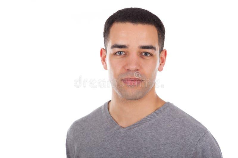 Latijns-Amerikaans mensenportret dat op witte achtergrond wordt geïsoleerd stock foto