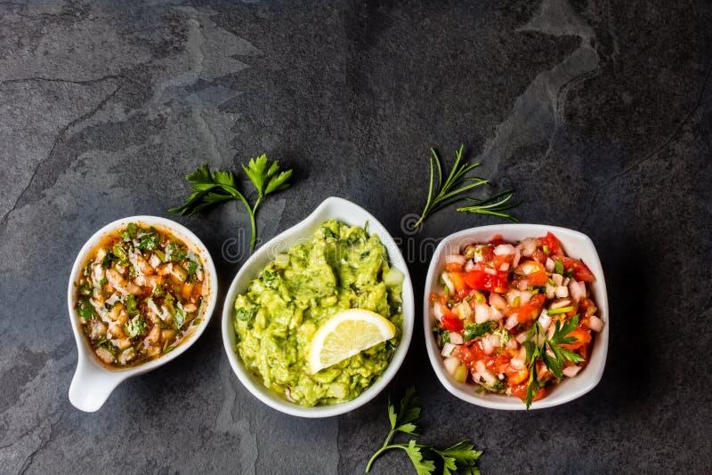 Latijns-Amerikaanse sausen - Guacamole, tomaat Salsa, Spaanse pepersaus Pebre stock fotografie